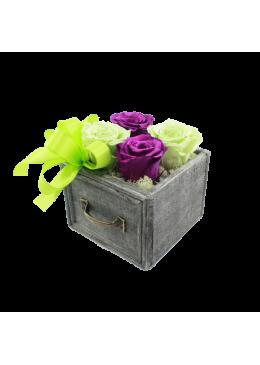 Rose éternelle  L'amour à la Française Tiroir  Roses Mauve et Verte