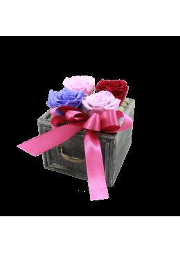 Rose éternelle  L'amour à la Française Tiroir  Roses Lavande Rose et rouge