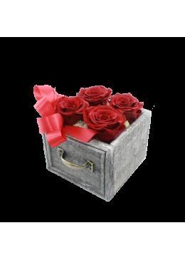 Rose éternelle  L'amour à la Française Tiroir  Roses rouge