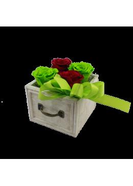 Rose éternelle  L'amour à la Française Tiroir  Roses Rouge et Verte