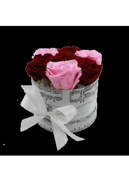 Rose éternelle  L'amour  la Française Box Kity Rose Rouge Rose