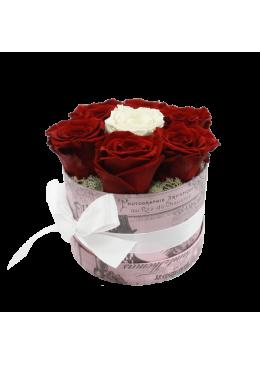 Rose éternelle  L'amour  la Française Box Kity Rose Rouge blanche